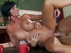 Who ca resist a milf like this? Milfy good looker Shay Fox with perfect massive pointer sisters is fuck hungry. Topless Shay Fox gets face fucked on her knees before deep pussy penetration.