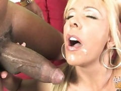 Misty Vonage let guy cum in her face gap and face