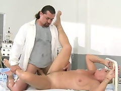 Granny Helen with blonde hairy slit fucking with lengthy haired doctor in the hospital