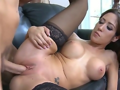 Brunette hair with gigantic love bubbles and clean wet crack loses control in fucking frenzy with hot fuck buddy Chris Johnson