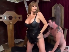 This wild blond milf Darla Crane is one hot piece of ass, letting her giant billibongs show in a leather corset as shes on all fours with Jack Vegas licking her juicy large ass!