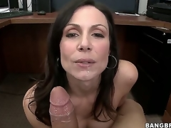 Were not sure about Kendra Lusts secretary skills, but its not hard to guess how the sexy milf got her job. This babe uses the lunch break to nibble on a large corpulent white sausage...