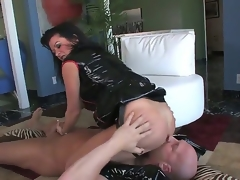Hardcore MILF fantasy. Staring porn star Christian XXX and Raquel Devine. This is one hawt movie. Just sit back and watch as this aged woman squats over this males face, and receives him to take up with the tongue her tight pussy. Then this honey forces him to engulf on her belt on, previous to this honey inserts her finger, unfathomable in his ass.
