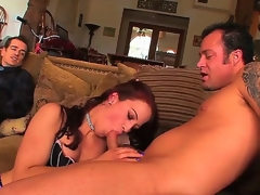 Pecker addicted cuckold redhead slut Cheyenne Jewel with natural marangos and bouncing ass in fishnet nylons acquires fingered and rammed hard by tattooed stud in front of her husband.