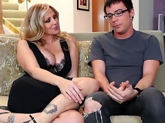 Dane Cross and plump breasted cougar Julia Ann are having some worthy time on the ottoman and they look very gorgeous and rather excited in many ways.