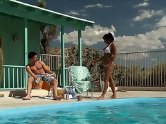 Highly hot and lascivious milf India Summer approaches her guy by the pool hoping that there will be some wild action to satisfy her lust.