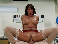 This nurse can cure u in the twinkling of an eye. Lezley Zen takes her uniform off and reveals gorgeous lingerie. This babe sucks her patients 10-Pounder and then her large breasts bounce as that guy copulates her.