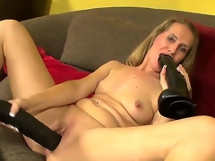 Salute people! Hawt and nice-looking milf Sara James takes 2 big black toys and masturbates! That babe sucks it and puts in her gentle pussy! I am sure that you will like it guys! Enjoy!