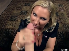 Lusty cock hungry golden-haired milf Devon Lee with giant hooters and big moist arse in nylons clothed as secretary gets licked by lewd James Deen and sucks his giant rock hard cannon