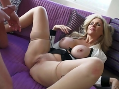 Julia Ann is a sex obsessed large titted mature angel that licks chaps balls and sucks his rigid shlong like eager before that babe widens her legs wide on the edge of the sofa and takes love torpedo in her wet aperture