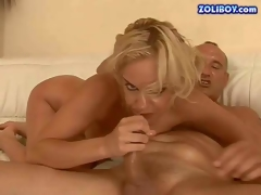 Wild and hot blonde momma with firm whoppers and tight ass enjoys in riding a hard and strong cock on the white leather sofa and sucks it for some cum