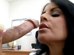 Hot momma Mikayla feeds her hungry mouth with her astonishing man's sausage