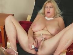 Massive tits aged acquires creamy masturbating solo
