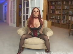 Redhead mama swallows cum from a big cock