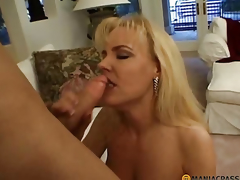 Elegant blonde fucks with guy