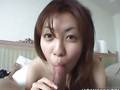 Naturally breasted Japanese hottie gives a oral-sex to a schlong