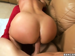 Shaved cookie MILF receives her world rocked when this guy drills her on the ottoman