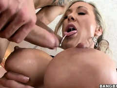After receiving an ass licking, this sexy MILF sucks a big cock