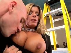 Busty blonde maid MILF unleashes his rigid pecker and sucks it hard