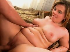 He's pounding his friend's chubby mom and nails her shaved vagina