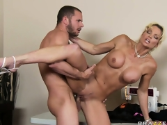 Sexually excited blonde doxy is getting jacked by his unyielding rod and eats cum