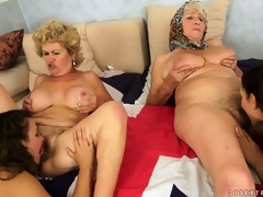 An orgy of fur pie with old and juvenile lesbian babes munching the rug