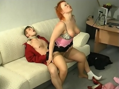 Sultry milf kneeling down to show her sucking skills after sexy muff-diving