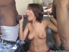 Hot Dana dArmond fucks 2 black males