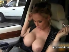 Take charge blonde milf gets horny flashing film