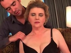 Busty grandma in nylons gets her unshaved love tunnel screwed