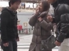 Asian milf has a three-some with 2 excited fellows