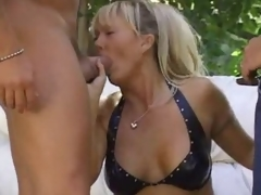 Sexually lewd golden-haired milf outdoors and boned