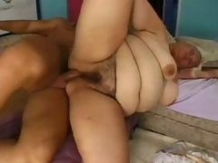 Mature old and obese blond with...